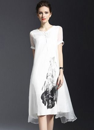 Viscose Floral Short Sleeve Mid-Calf Vintage Dresses (1012128) @ floryday.com