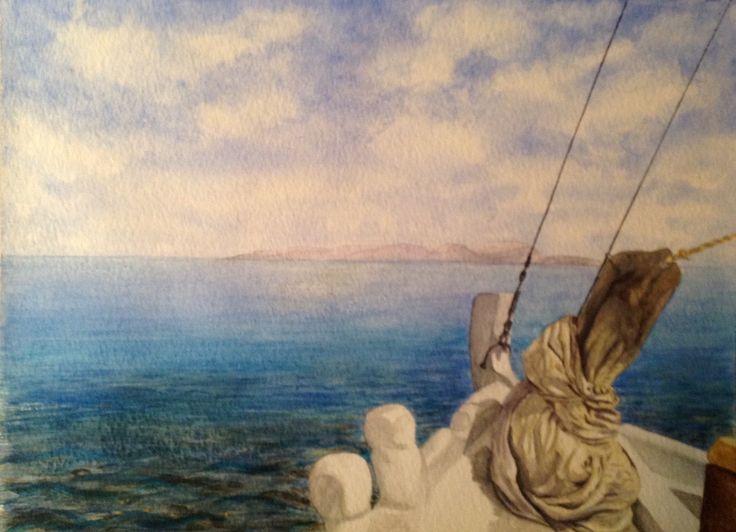 'Towards Dia' in watercolour by Gayner Vlastou