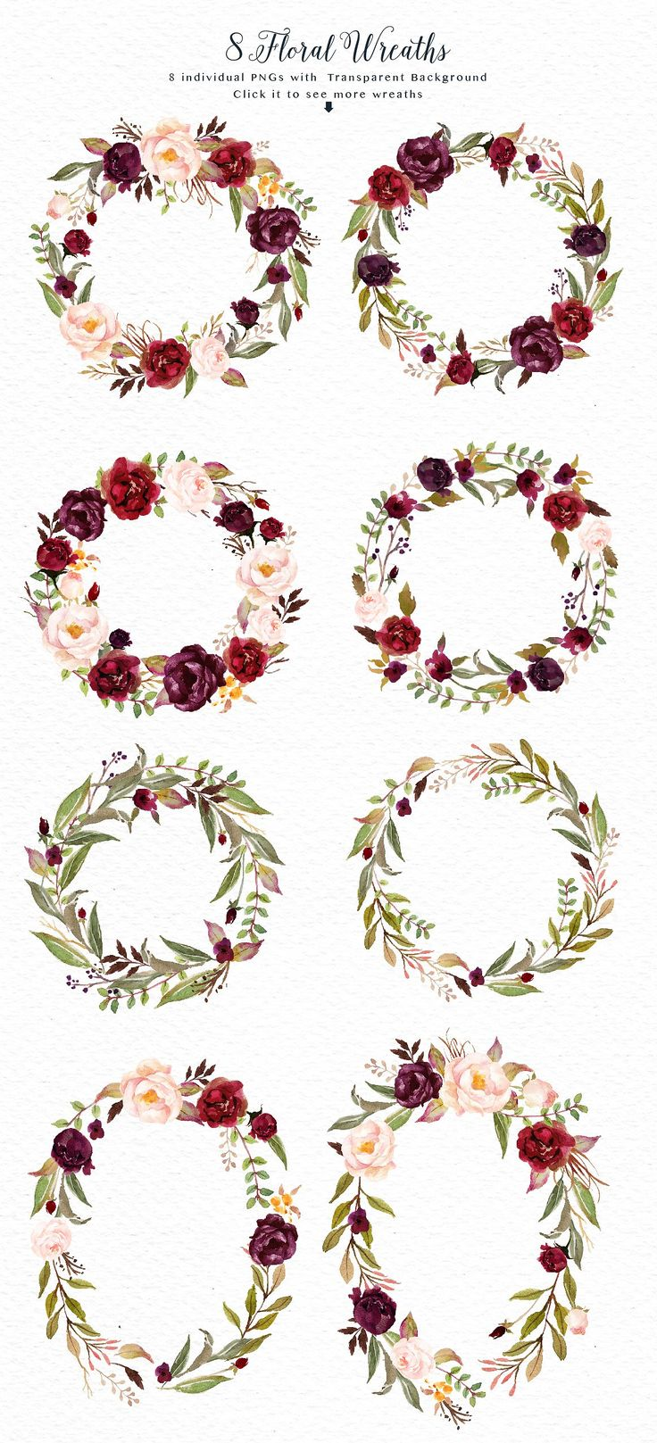 Watercolor flower Clip Art-Marsala by Graphic Box on @creativemarket