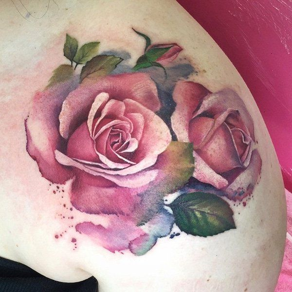 Watercolor rose shoulder tattoo - 100 Meaningful Rose Tattoo Designs <3 <3