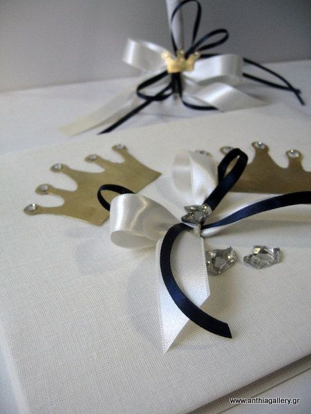 decoration with gold handmade crown.