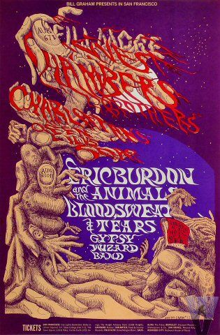 Classic rock concert psychedelic poster - Chambers Brothers at Fillmore West 8/6-11/68 by Lee Conklin
