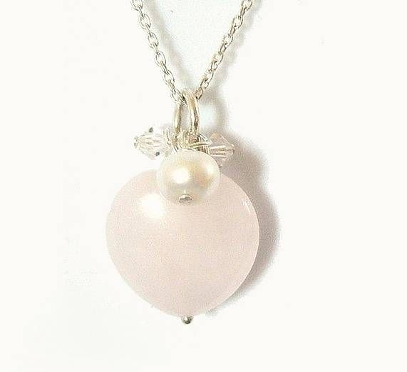 rose quartz heart and pearl pendant by clutch and clasp | notonthehighstreet.com £29.95