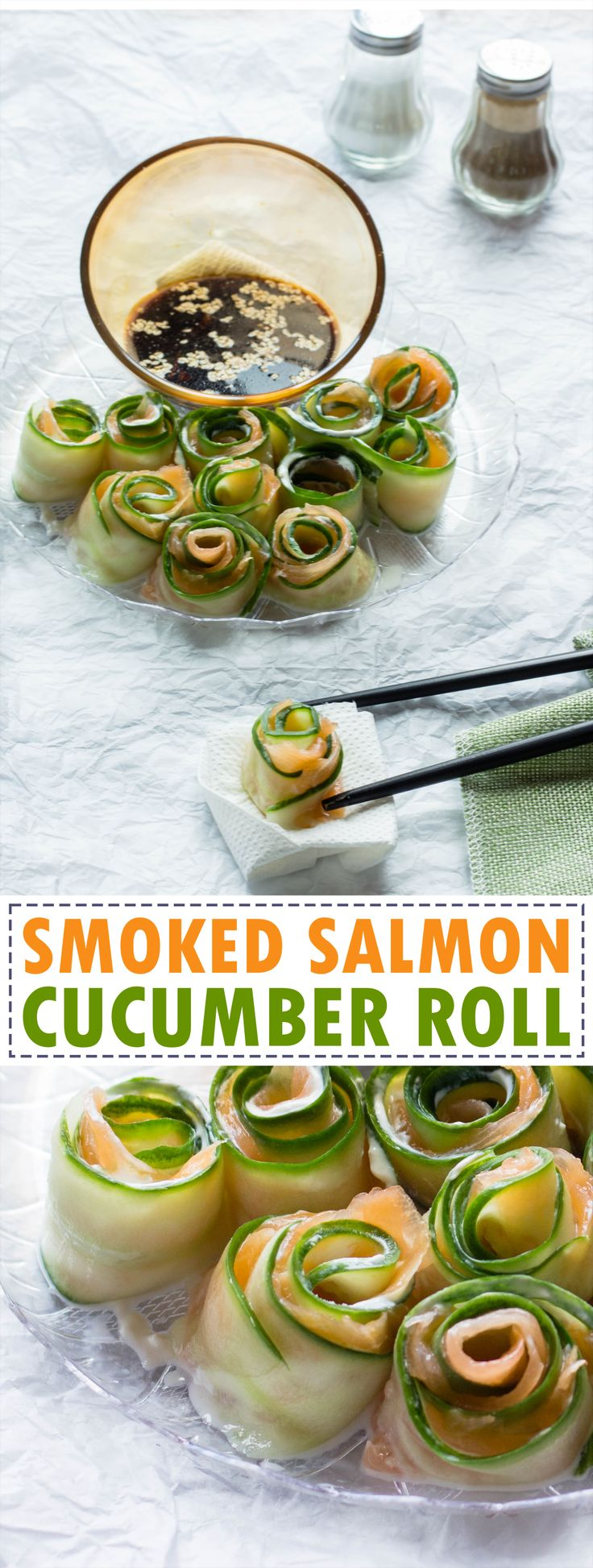 Smoked salmon cucumber roll is a great refreshing starter for the hot seasons. It can be prepared in under 15 mins and requires only three ingredients.
