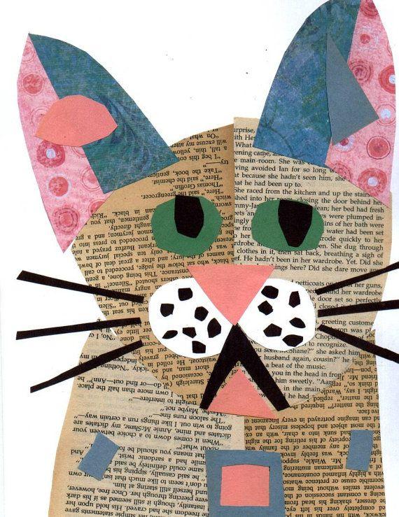 Items similar to Cat Art CAT COLLAGE Painting Art Mixed Media Kitten on Etsy