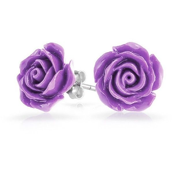 Bling Jewelry Purple Petal Studs ($9.99) ❤ liked on Polyvore featuring jewelry, earrings, accessories, purple, roses, stud-earrings, stud earrings, earring jewelry, flower stud earrings and rose flower earrings