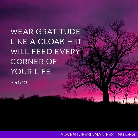 Wear gratitude like a clock, plus it will feed every corner of your life.