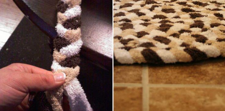 Cut three old towels into stripes to make a bathroom rug.