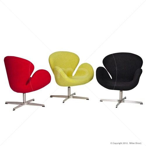 Swan Chair - Premium Wool - Red - Buy Jacobsen Swan Chair & Designer Chairs - Milan Direct