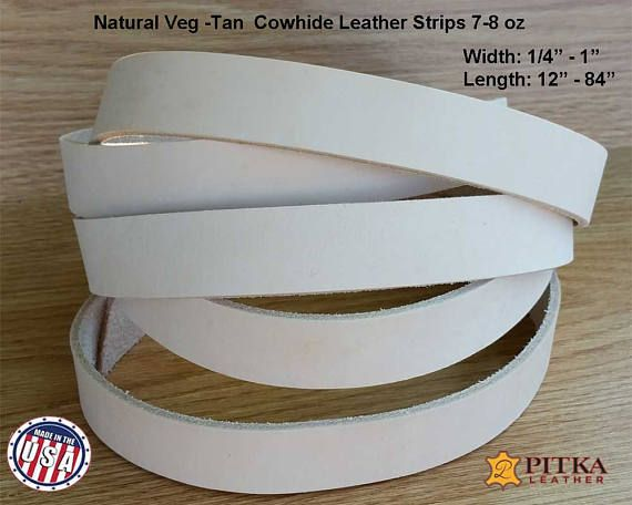 5//8 Inch Black Leather Strip 8-9 oz. 3.2-3.6 mm 5//8 x 12 - Latigo Leather Strips up to 96 Inch Long Made in USA by Pitka Leather