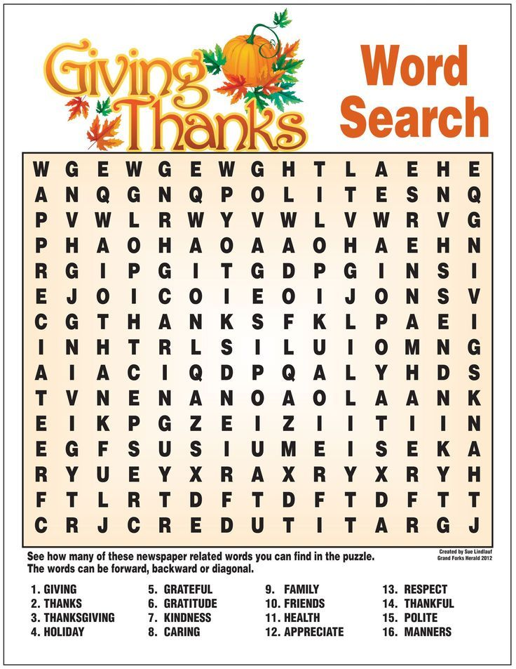 Here's a word search puzzle in celebration of Thanksgiving ...