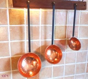Set of 3 French Farmhouse Copper Ladles with Wooden Hanging Rail