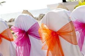 hot pink orange wedding- could do this with just the mr and mrs chair