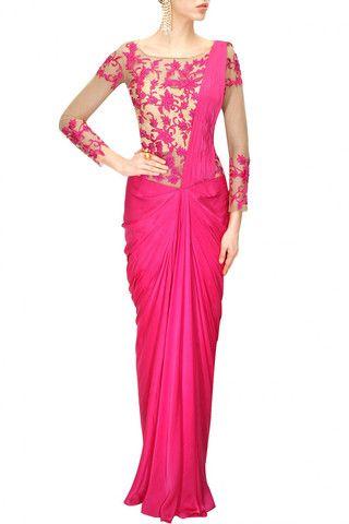 Hot Pink Colour #Sareegown – #panachehautecouture