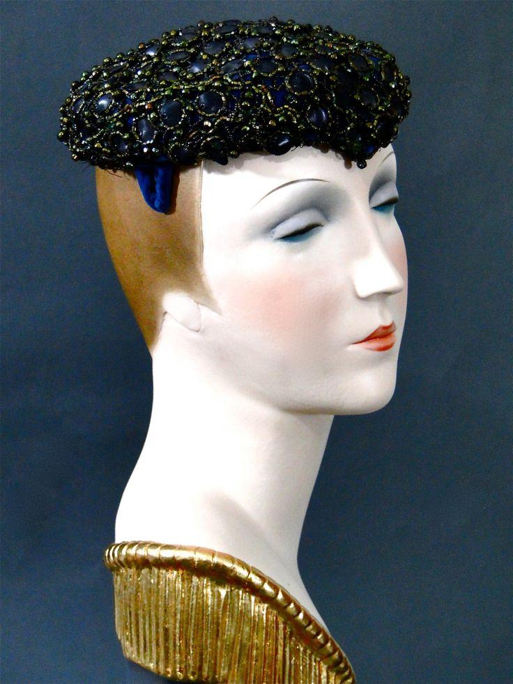 Widow's Peak Dinner Hat Cocktails 1950's Vintage Low Pillbox / Metallic Beadwork Dark Cobalt Blue Silk and Velvet Dressy Hat Fashions by SueEllensFlair on Etsy