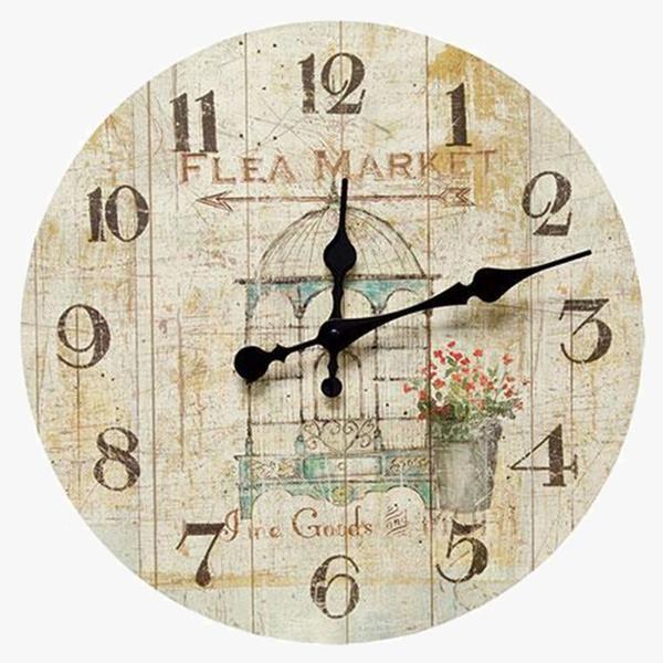 Flea Market Clock Shabby Chic Wood Wall Wood Wall Clock Shabby Chic Decor