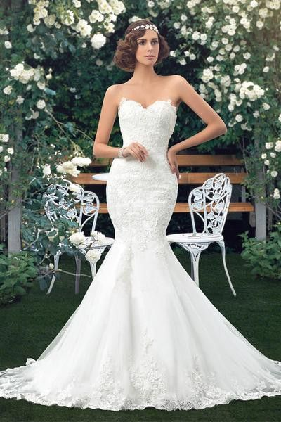 High Quality Mermaid Sweetheart Lace Appliques Wedding Dress TN0026