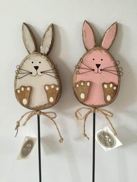 Add some Easter charm to a flower display or outside spot with these cute rabbits on sticks. Mark a hidden Easter Egg or two. Available, as a pair, online now