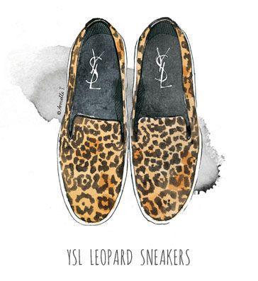YSL leopard sneakers - Illustration by Armelle Tissier
