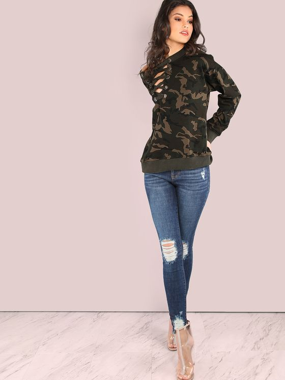 Online shopping for French Terry Camo Lace Up Pullover CAMOUFLAGE from a  great selection of women's