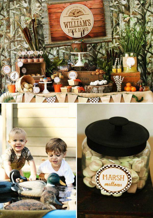 A Rustic Duck Hunting Birthday Party with quack-tastic ideas including a duck feed cereal bar, duck call donuts, goose egg gum balls and decoy spread!
