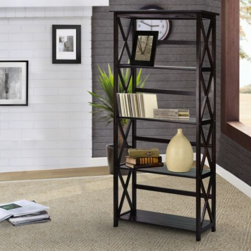 5 Shelf Bookcase Bookshelf Storage Wood Shelving Furniture Home Office Black #WoodBookcase #Contemporary