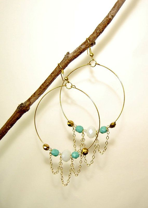 Chandelier Chain Beaded Hoop Earrings by laboutiquetout on Etsy, $18.00