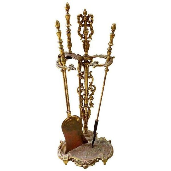 Ornate Solid Brass Fireplace Tools with Stand - Set of 4 ($325) ❤ liked on Polyvore featuring home, home decor, fireplace accessories, fireplace tools & sets, brass home accessories, brass home decor, brass fireplace set, brass fireplace accessories and brass fireplace tool set