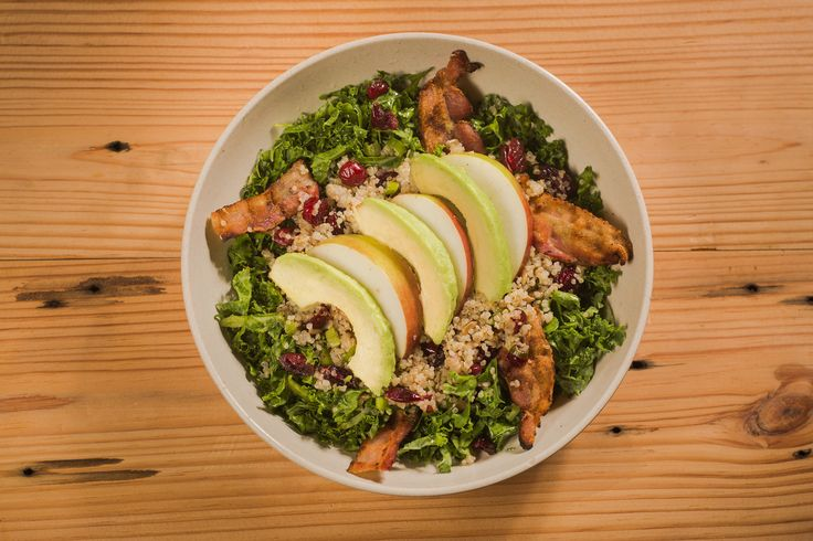 One of my personal favorites - b.good's Local Apple and Bacon Bowl -organic quinoa, kale, avocado, slab bacon, local apple, dried cranberries, sunflower seeds, scallions, red wine vinegar, olive oil
