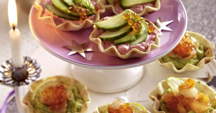 Seafood and avocado canapes