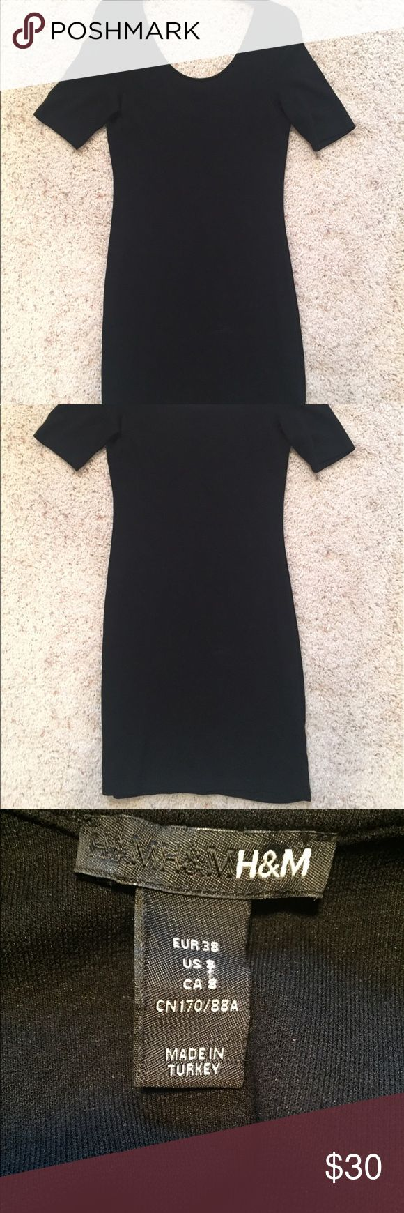 H&M Classic Little Black Dress Stretch H&M Little Black Dress (LBD). Size 10. Material is stretchy.  Scoop neck in front and back. Dress is versatile- can dress up or down. From a pet free/smoke free home. Worn once.  💜5 Star Rated Seller! 💜Same or Next Day Shipper (Excludes Weekends and Holidays)! H&M Dresses Midi