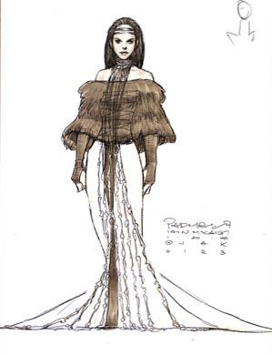 Star Wars Padme Amidala Dinner Dress - Original Concept Art ✤ || CHARACTER DESIGN REFERENCES | キャラクターデザイン • Find more at https://www.facebook.com/CharacterDesignReferences if you're looking for: #lineart #art #character #design #illustration #expressions #best #animation #drawing #archive #library #reference #anatomy #traditional #sketch #development #artist #pose #settei #gestures #how #to #tutorial #comics #conceptart #modelsheet #cartoon || ✤