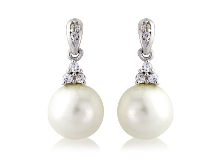 """Classic wedding jewellery. Simple pearl drop sterling silver earrings. 3 crystal stone top.  Inspired by our favourite Duchess, these """"Kate"""" earrings are a classic."""