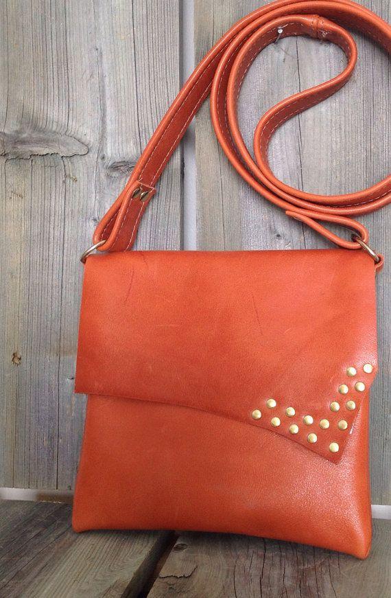 Tangerine Orange Leather Side Bag by HeartnSoulHandbags, $140.00
