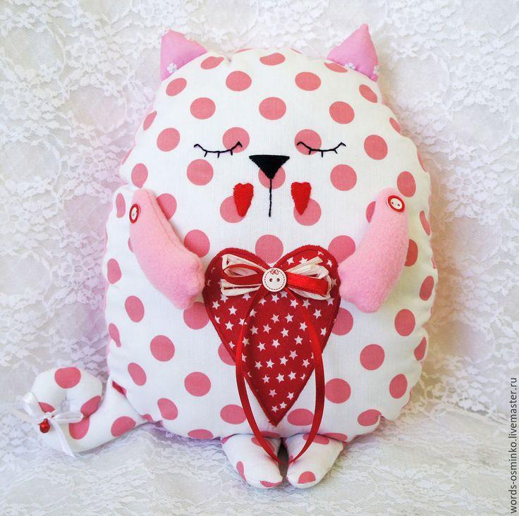 Купить Подушка Кот-сплюшка/ подушка игрушка - розовый, кот-сплюшка, подушка кот, кот