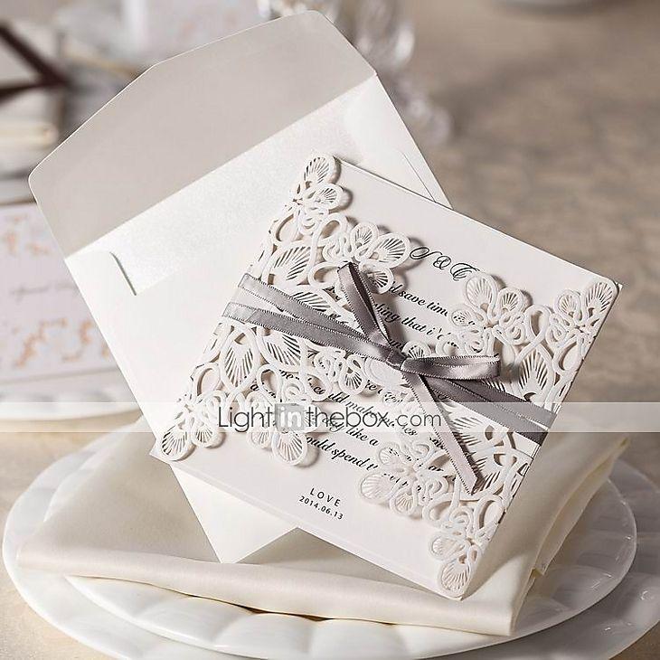 wedding invitations online au%0A GateFold Wedding Invitations   Invitation Cards Floral Style Card Paper                 cm  Bows Ribbons