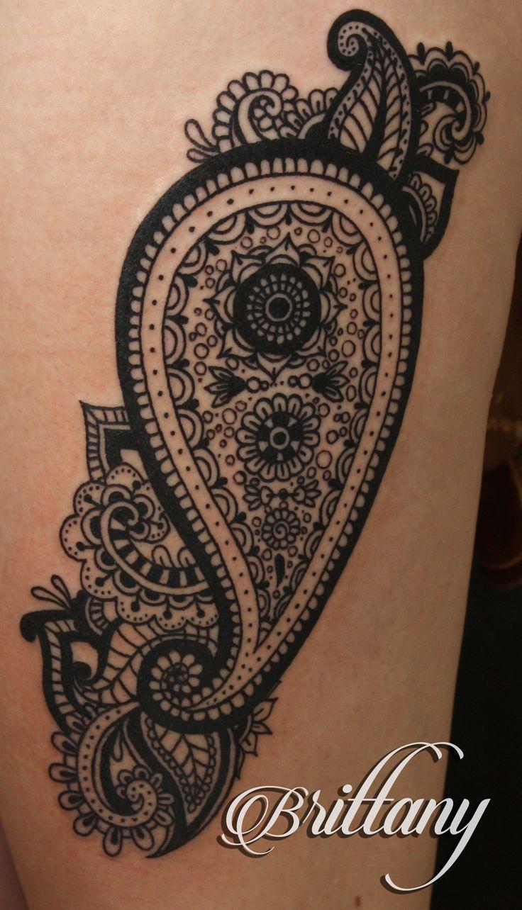 Paisley tattoo thigh tattoo blackwork black tattoo linework. Skinny Boy Tattoo, Post Falls, ID