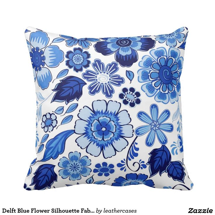 Delft Blue Flower Silhouette Fabric Throw Pillow Blue & White Pinterest Flower silhouette ...