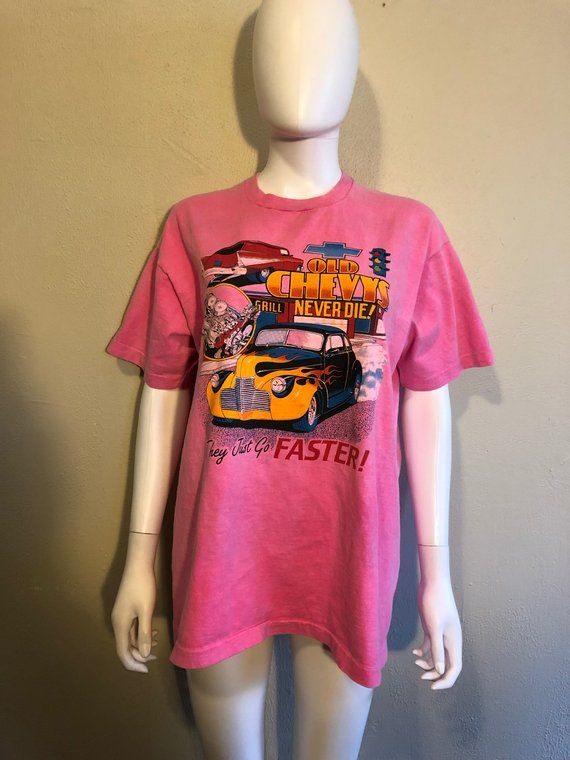a6b9d9425b187 80s 90s CHEVY neon pink t shirt | ATELIERVINTAGESHOP | Shirts, Pink ...