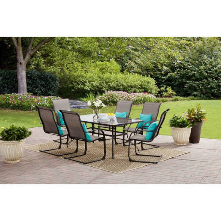 Patio Dining Set 7 Piece Grey Tempered Glass Table Top Backyard Porch Furniture #General