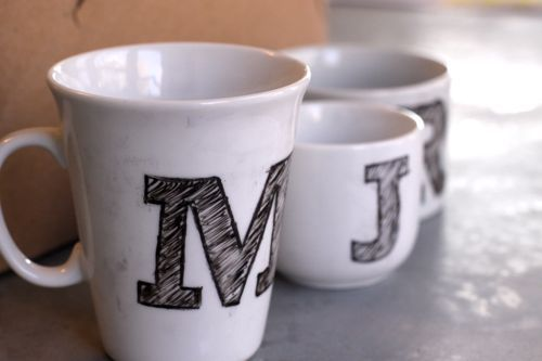 "DIY monogram cups! Want to do this on tea cups so they say ""Mrs"" & ""Mr"" for the wedding!"