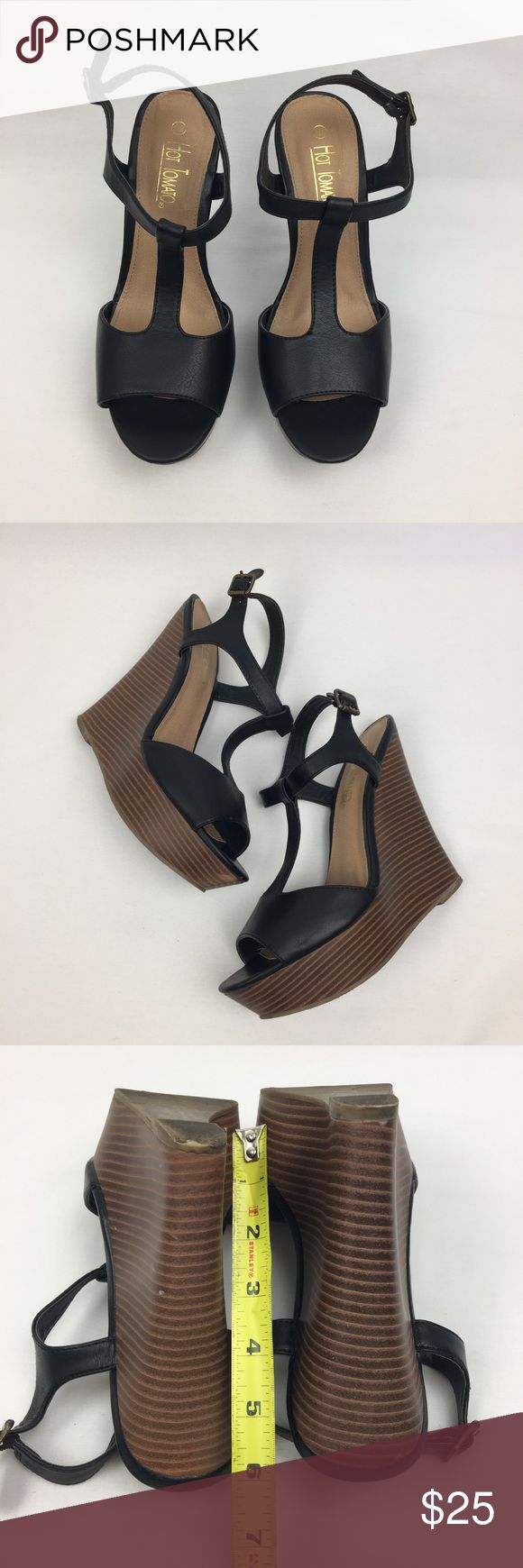 Hot tomato black Wedge Sandal 9.5 M Normal wear Hot Tomato Shoes Wedges