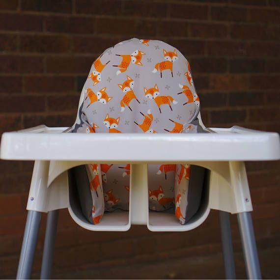 IKEA High Chair Cover To Fit Antilop Pyttig Cushion Insert - First Birthday Highchair Decor - Pear of Stitches - Cute Orange Tribal Fox
