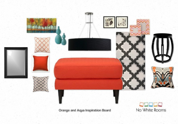 Orange and Aqua Inspiration Board