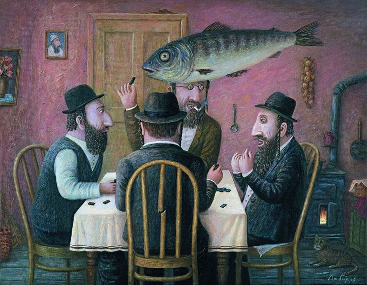 "'Ryba! (Domino)' (2002) from the series ""Jewish happiness"" by Russian artist Vladimir Lyubarov (b.1944). Oil on canvas, 27.5 x 35.375 in. via Art Russia"