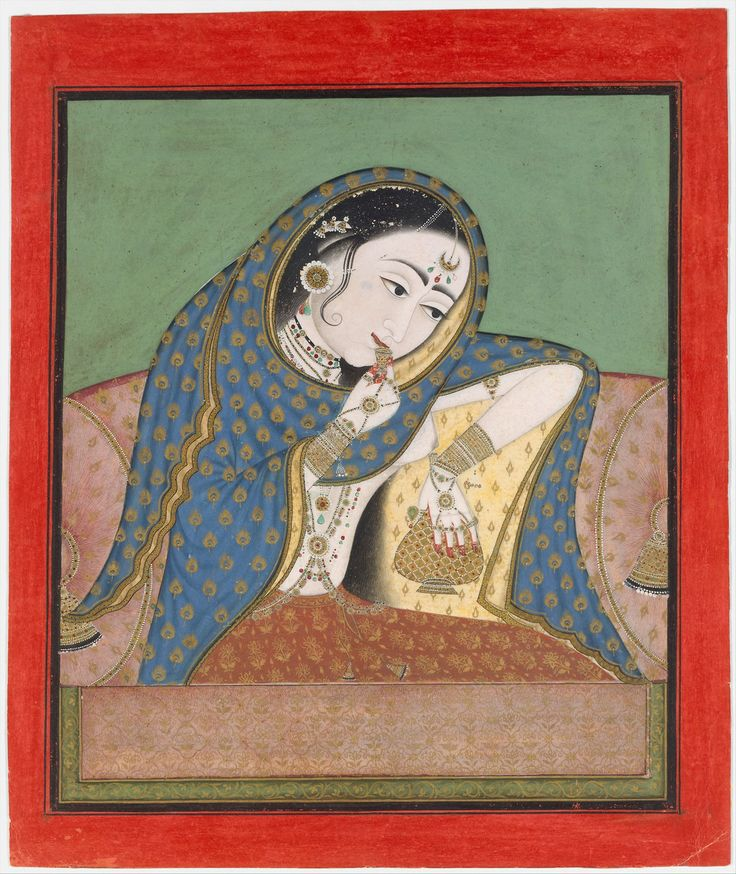 melancholy courtesan-rajput painting Rajput painting, also known as Rajasthani Painting, is a style of Indian painting, evolved and flourish...