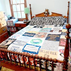 See how to make a t-shirt quilt with all of the old t-shirts you've collected over the years. Makes a great graduation gift!