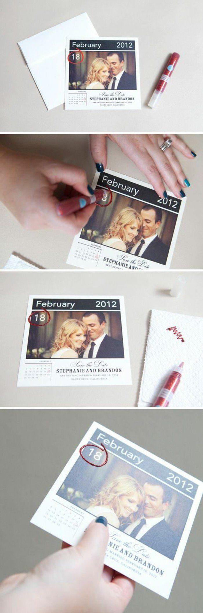 modele faire part mariage avec photos de jeunes mariés, faire part creatif