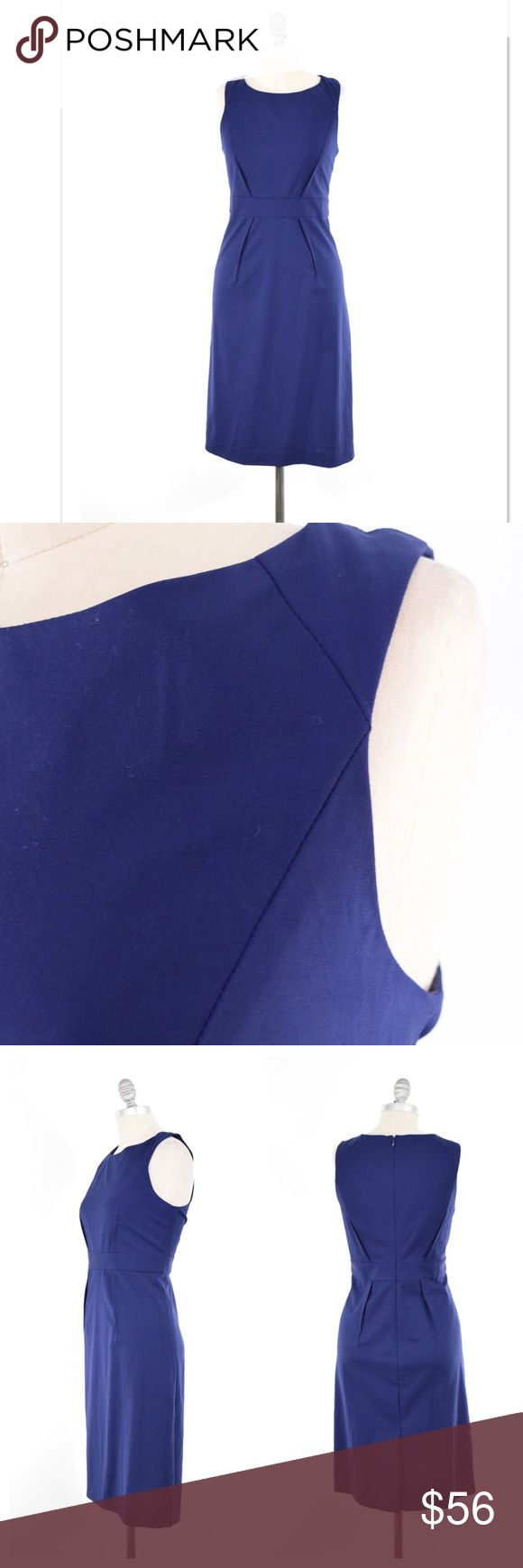 """Theory royal blue stretch wool sheath dress Figure-flattering sheath dress from Theory. Stretch wool suiting fabric; fully lined. Deep, blue/purple color. Jewel neckline, slim waistband, pencil skirt. Hits at the knee. Reversed dart detail. Size 12, approximate L/XL. Length from shoulder: 39"""" Bust: 36"""" Waist: 32"""" Hip: 40"""" Theory Dresses"""