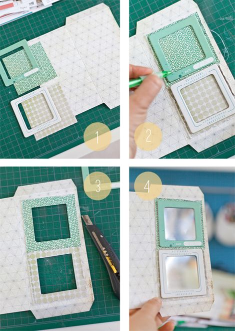 Mini album with Polaroid frames with pull out pages underneath.